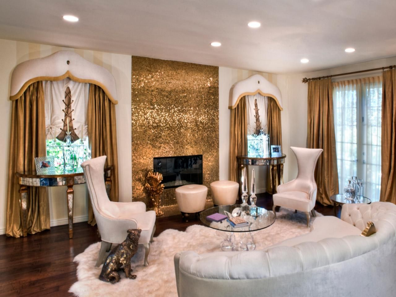 High Quality Gold Accents Make The Eyes Jump All Over This Living Room. The Fireplace  Shimmers And