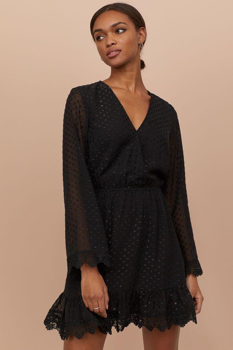 Plumeti Chiffon Dress Black Ladies H M Us Dresses Chiffon Dress Flare Skirt [ 1152 x 768 Pixel ]