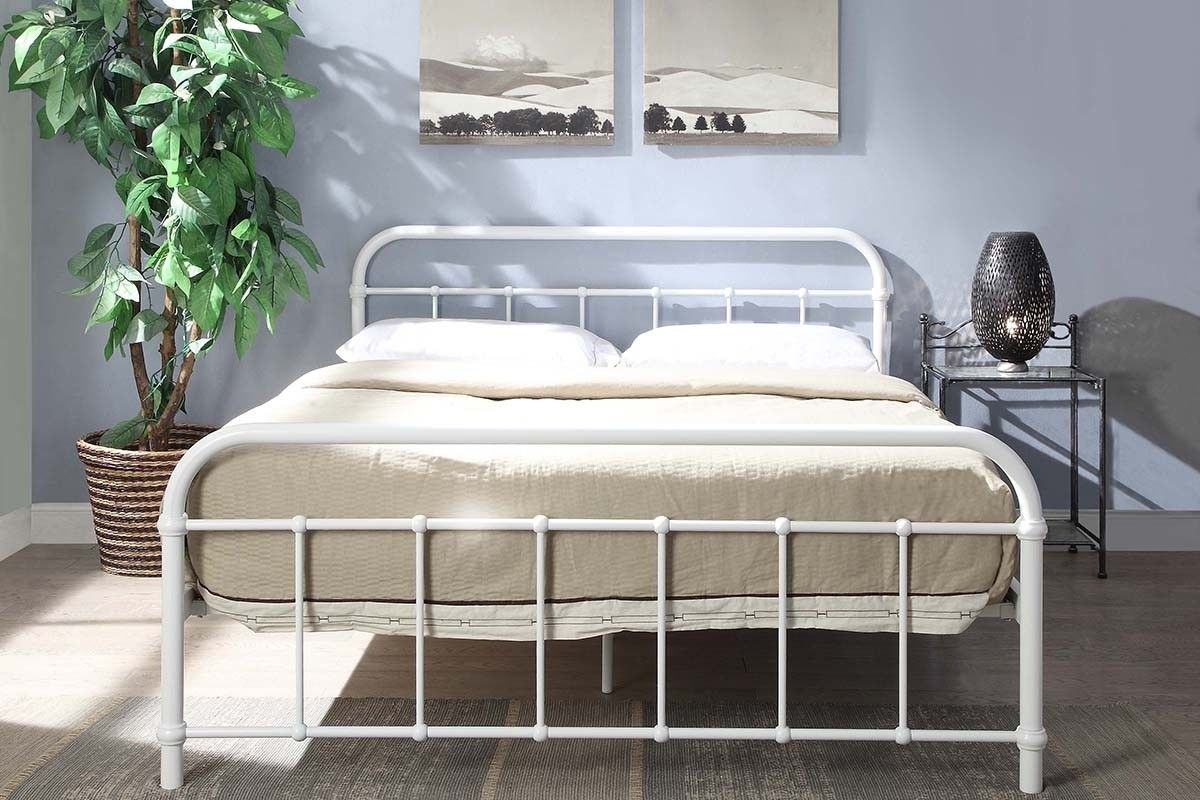 Henley White Metal Hospital Dorm Style Bed Frame Single
