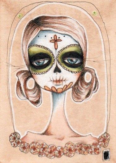 la catrina iii . Dia de los Muertos aceo print by stellalatwinski