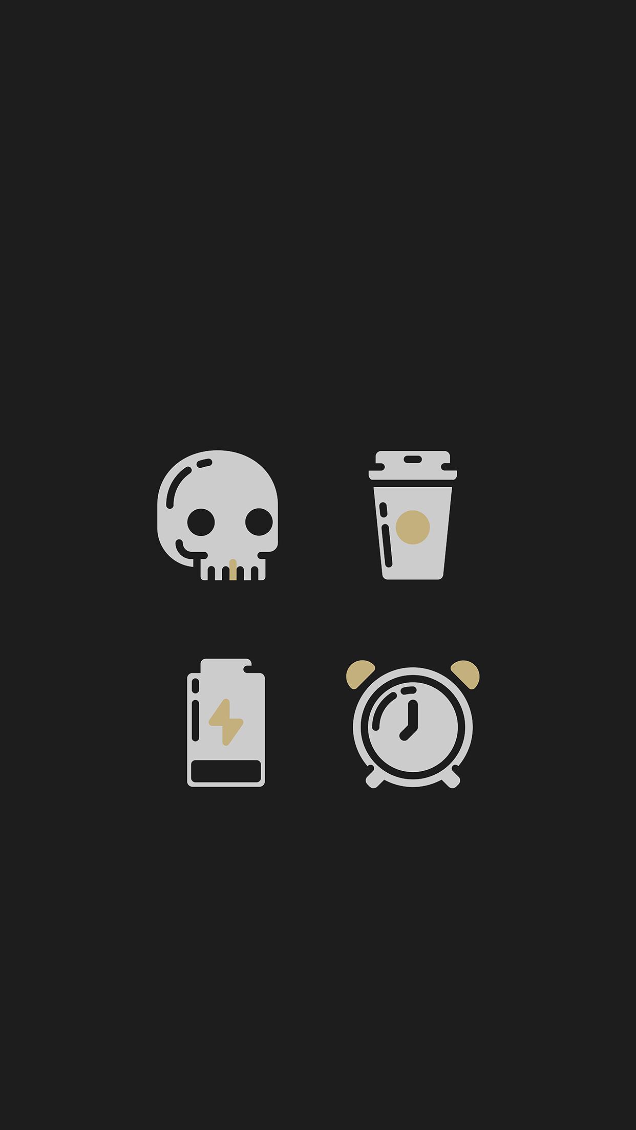 Tap And Get The Free App Art Black Skull Coffee Alarm