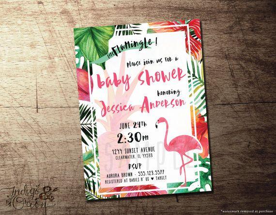 tropical baby shower invitation flamingo theme, pineapple, Baby shower invitations