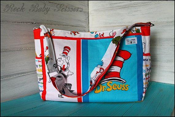 Dr Seuss No Flap Messenger Style Diaper Bag