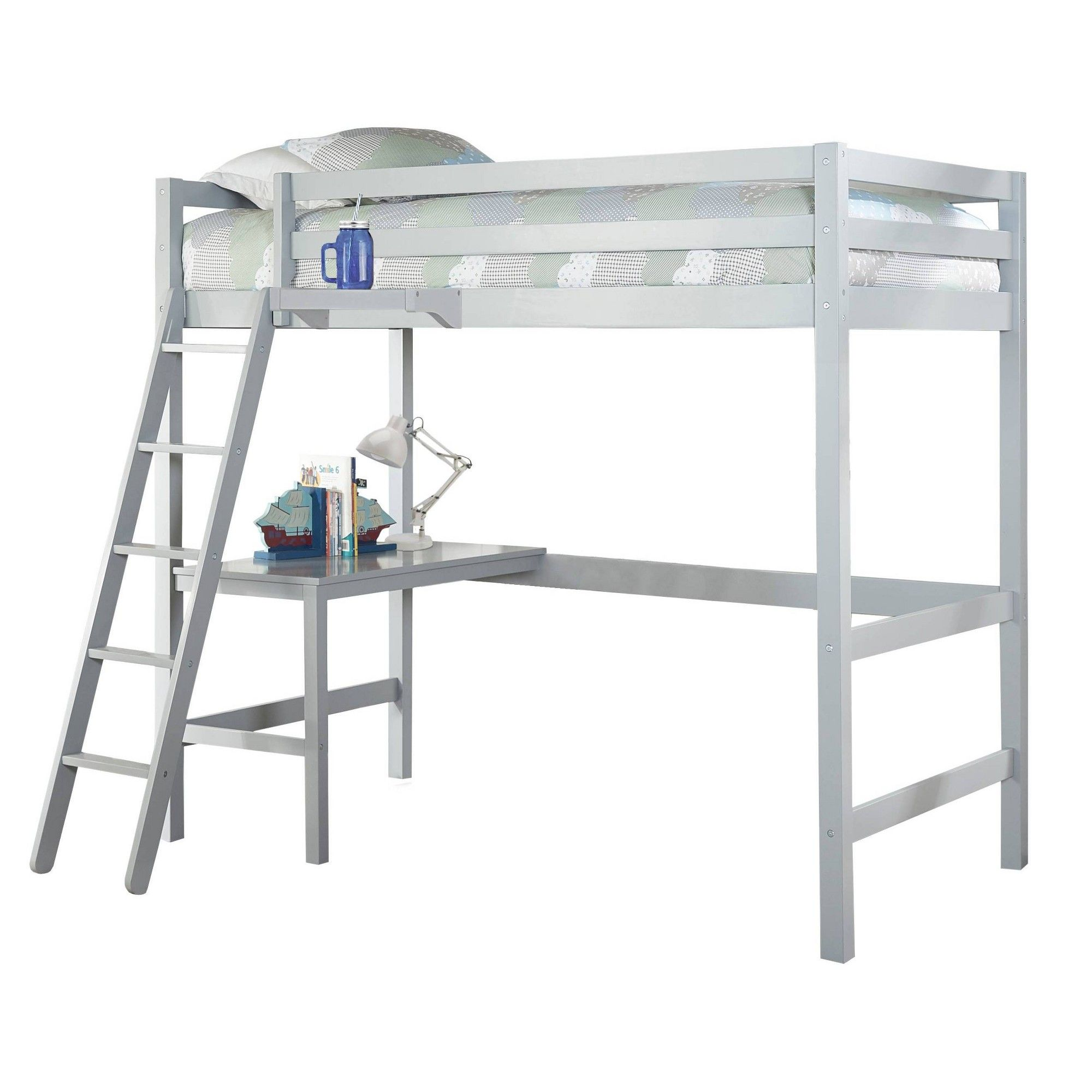 Twin Caspian Study Loft With Hanging Nightstand Gray Hillsdale Furniture Hillsdale Furniture Loft Bed Frame Furniture