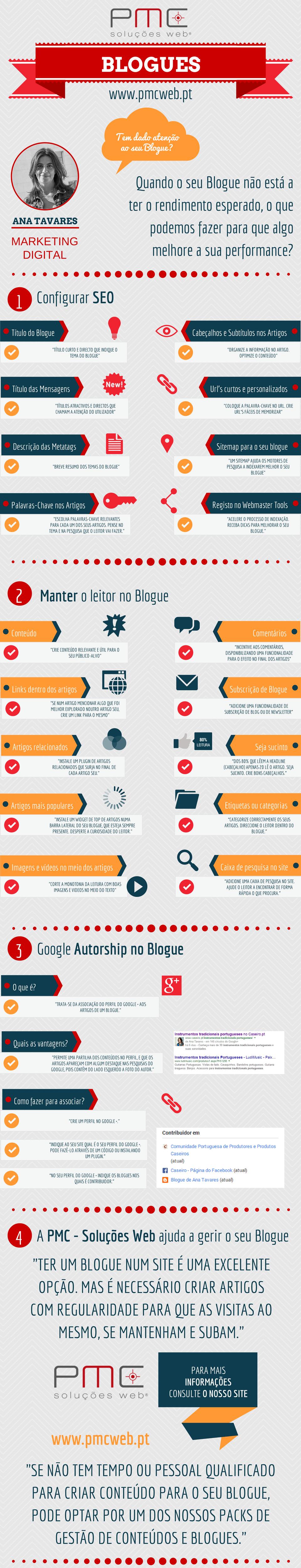 Infográfico com dicas de #seo, como manter um leitor mais tempo no blogue, instalar o google authorship.