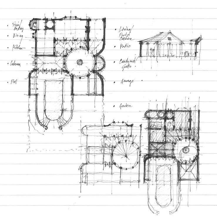 a round court | draw, ceilings and draw