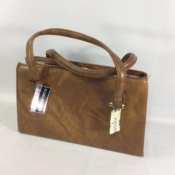 Vintage Brown Purse Granny Deadstock Guarantee Handbag Montreal Vinyl Clasp Gold