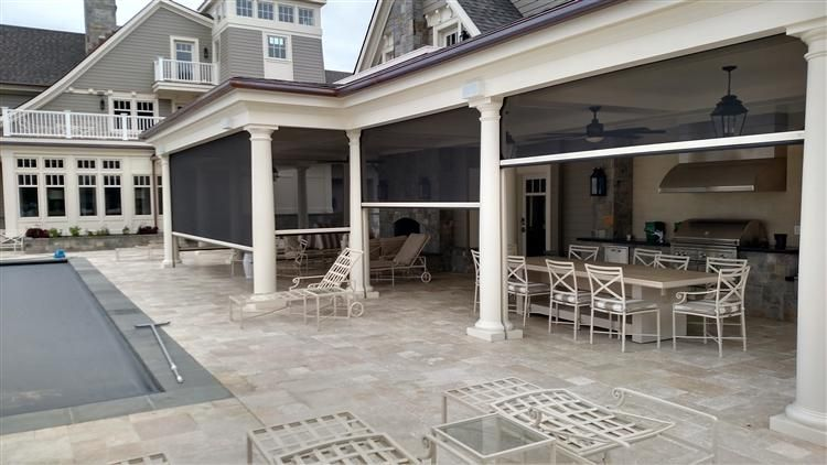Phantom Recessed Retractable Screens In Round Columns Retractable Screen Porch Retractable Screen Screened In Patio