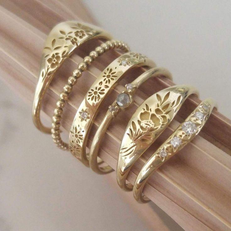 Ruby Wedding Gifts John Lewis: Flower Signet Ring, 14k Gold Floral Wedding Band, Flower