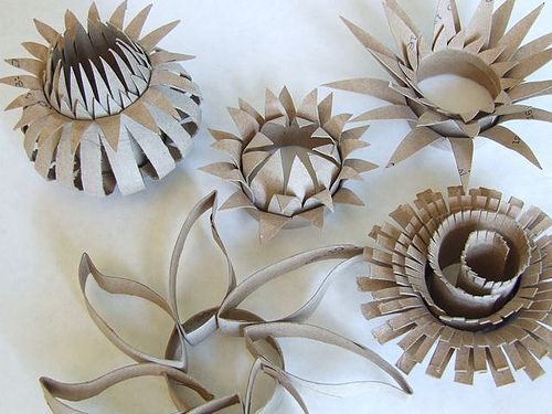 Cardboard tubes recrafted into flowers toilet paper roll crafts recycle toilet paper roll flowers love this idea great for school projects mightylinksfo