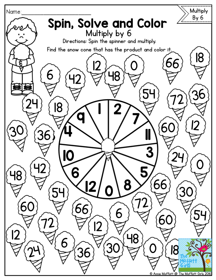 Spin, Solve and Color- Practicing Multiplication Facts with a fun ...