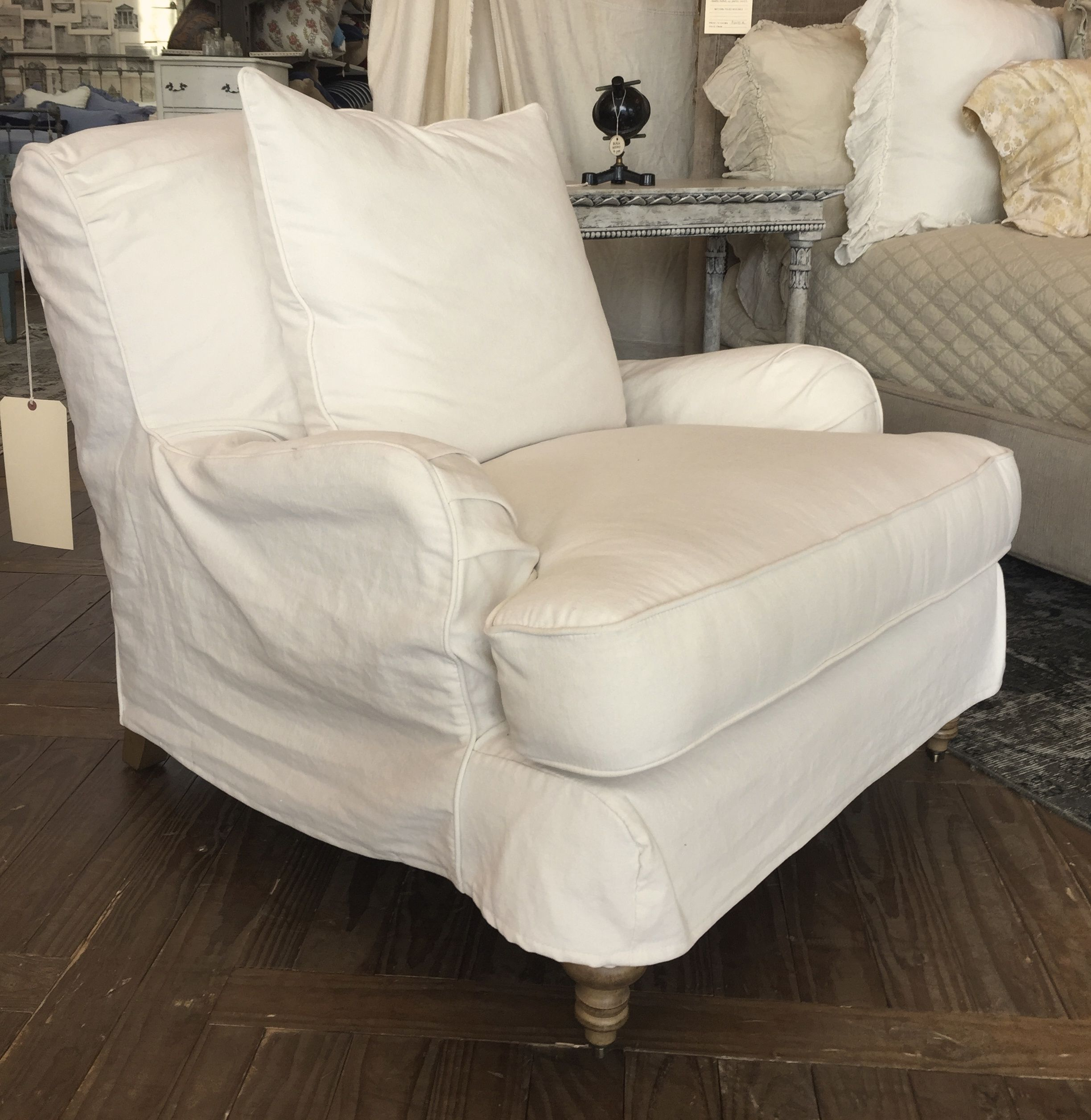 English roll arm chair with washable cotton slipcover a