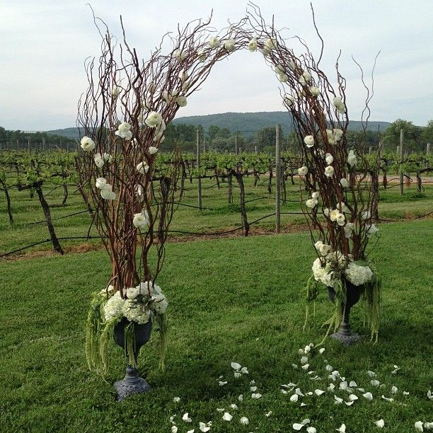 Forest Wedding Altar: Ceremony Arch With The Vineyard In The Background