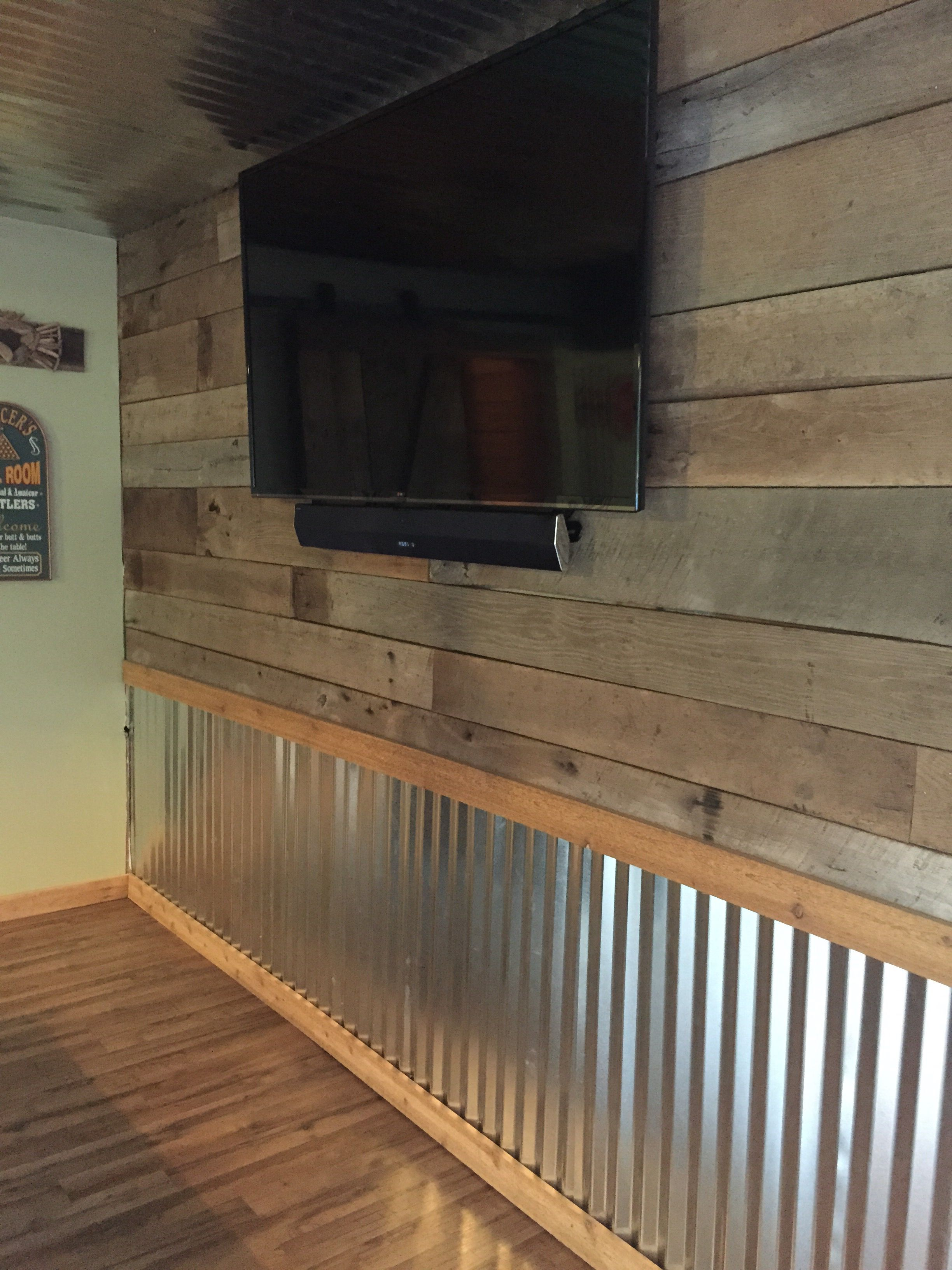 Pallet Wood Chair Rail Rattan Swivel Chairs Barnwood And Tin Wall The Hooch Basement Walls