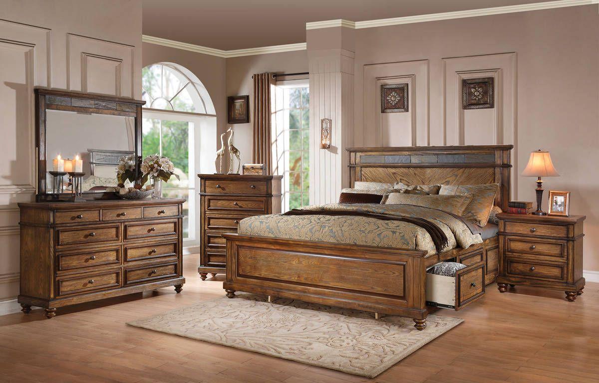 Arielle Oak Slate Wood Glass 5pc Bedroom Set W/Storage Queen ...