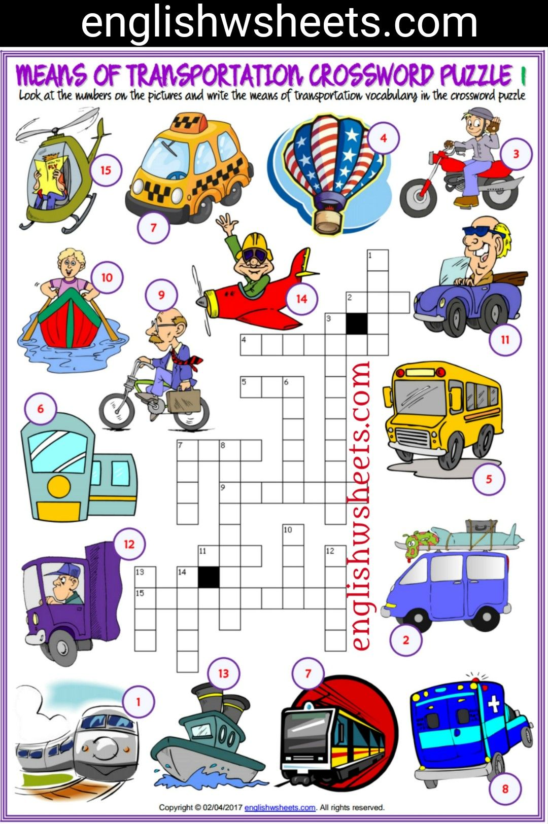 Means Of Transportation Esl Printable Crossword Puzzle Worksheets For Kids Means