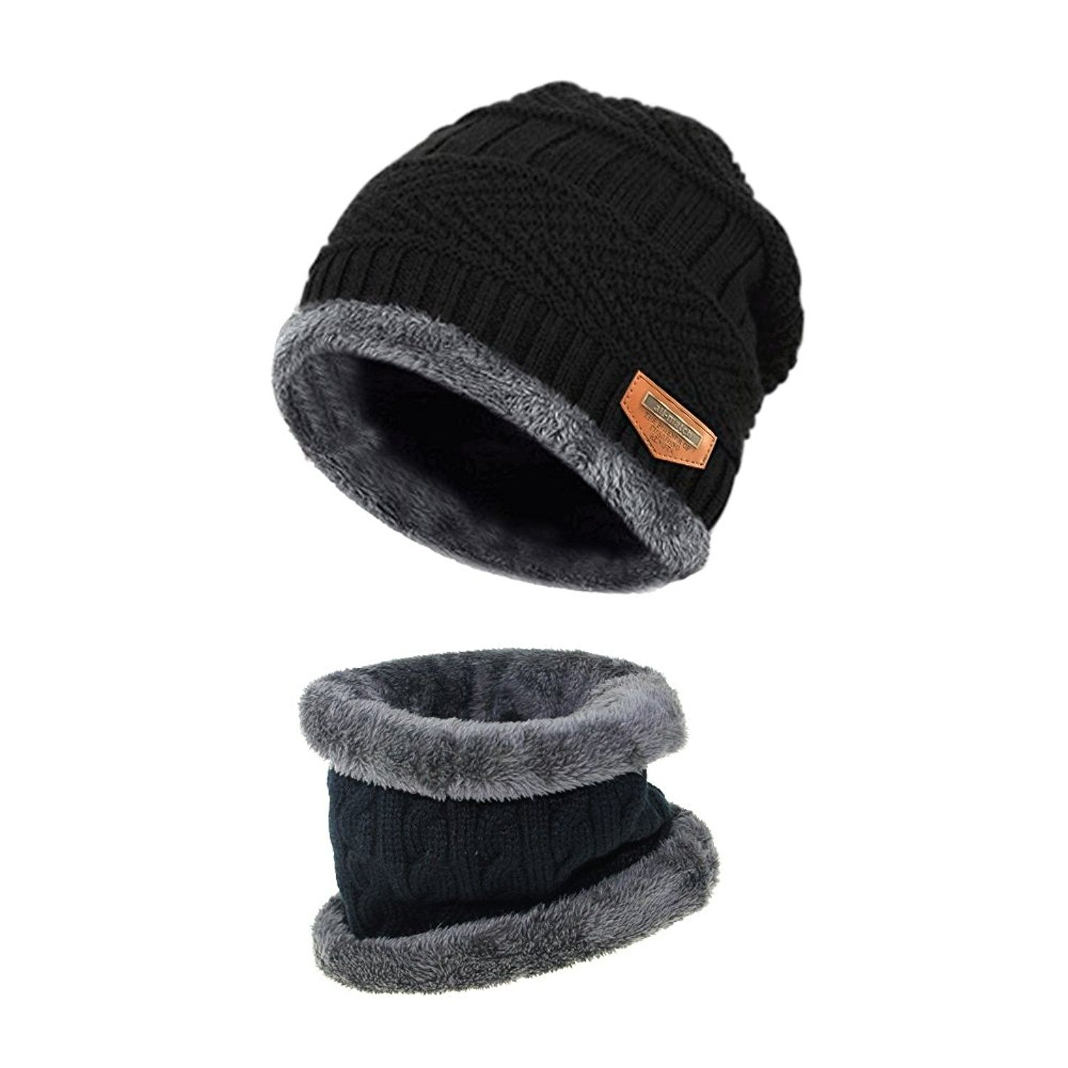 Beanie Hat Scarf Set Thick Knit Hat Warm Fleece Lined Scarf Winter ... 3aad9badf9e