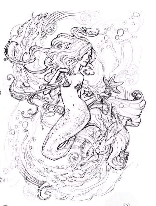 Mermaid Drawing Art Art Drawings In 2019 Mermaid Tattoo Designs
