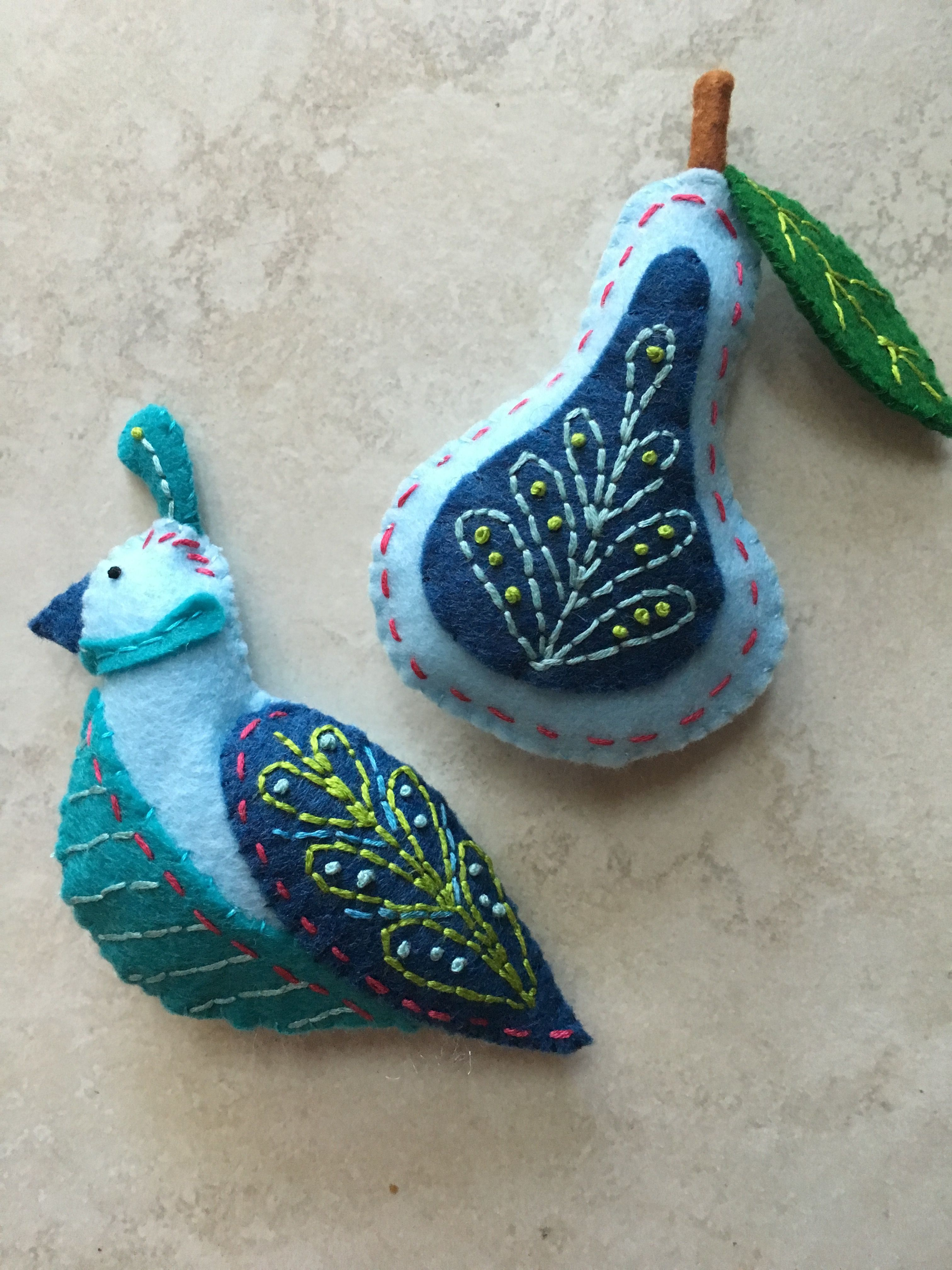 Made Another Partridge And Pear Set From Larissa Holland S Pattern Series 12 Days Of Felt Ornaments Handcrafted Christmas Ornaments Felt Christmas Decorations