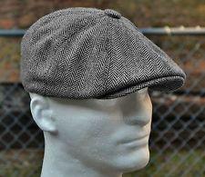 468a99595b HERRINGBONE TWEED GATSBY Newsboy Cap Men Wool Ivy Hat Golf Driving ...