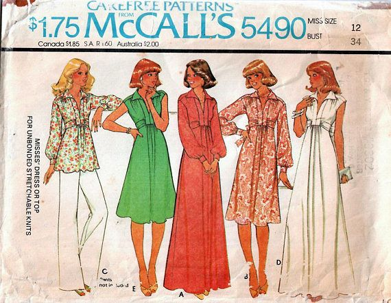 1970s McCall\'s 5490 Vintage Sewing Pattern Misses High Waist Top and ...