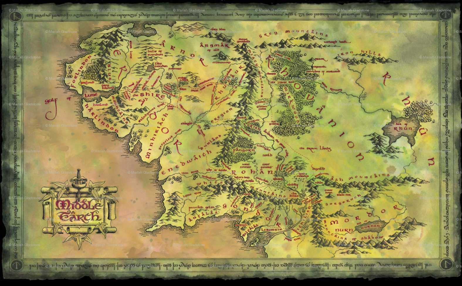 AlternateMiddleEarthMaphighrespng 1575975 pixels Middle Earth