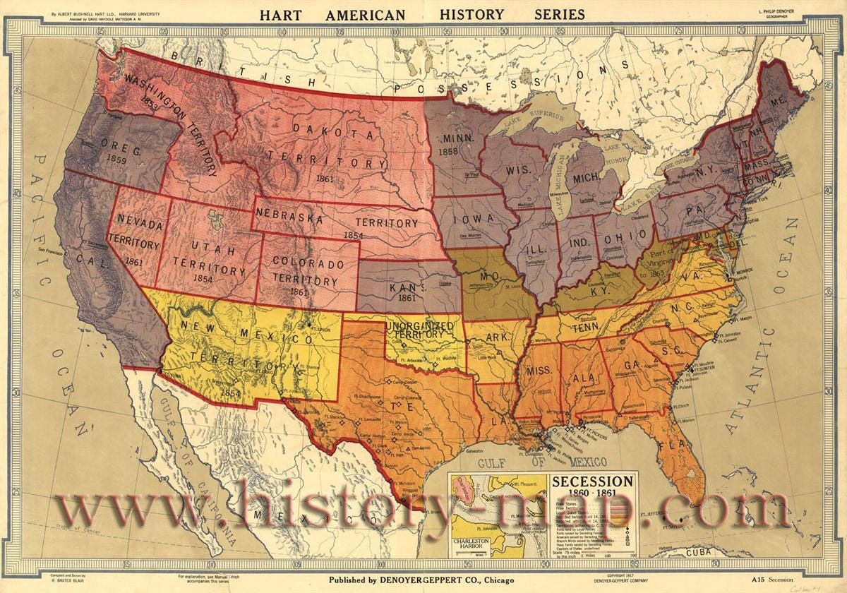 Map Of Us States In 1860%0A Secession           By Albert Bushnell