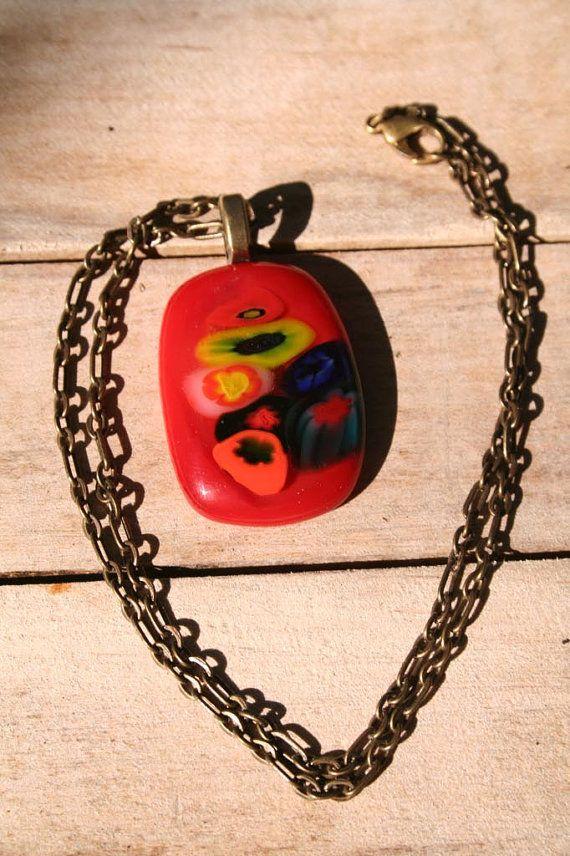 romantic handmade fused millefiori glass pendant on antiqued copper chain littlethingsbyMoni, $25.00 https://www.etsy.com/shop/littlethingsbyMoni