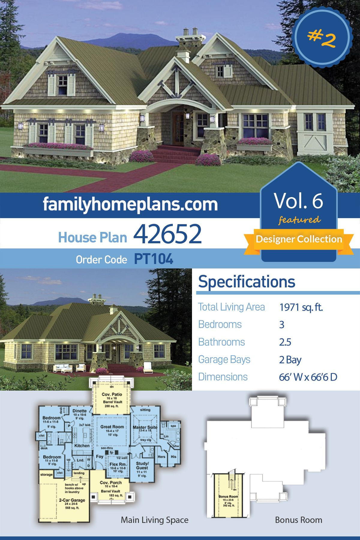 Craftsman Style House Plan 42652 With 3 Bed 3 Bath 2 Car Garage Craftsman Style House Plans Family House Plans Craftsman House Plan