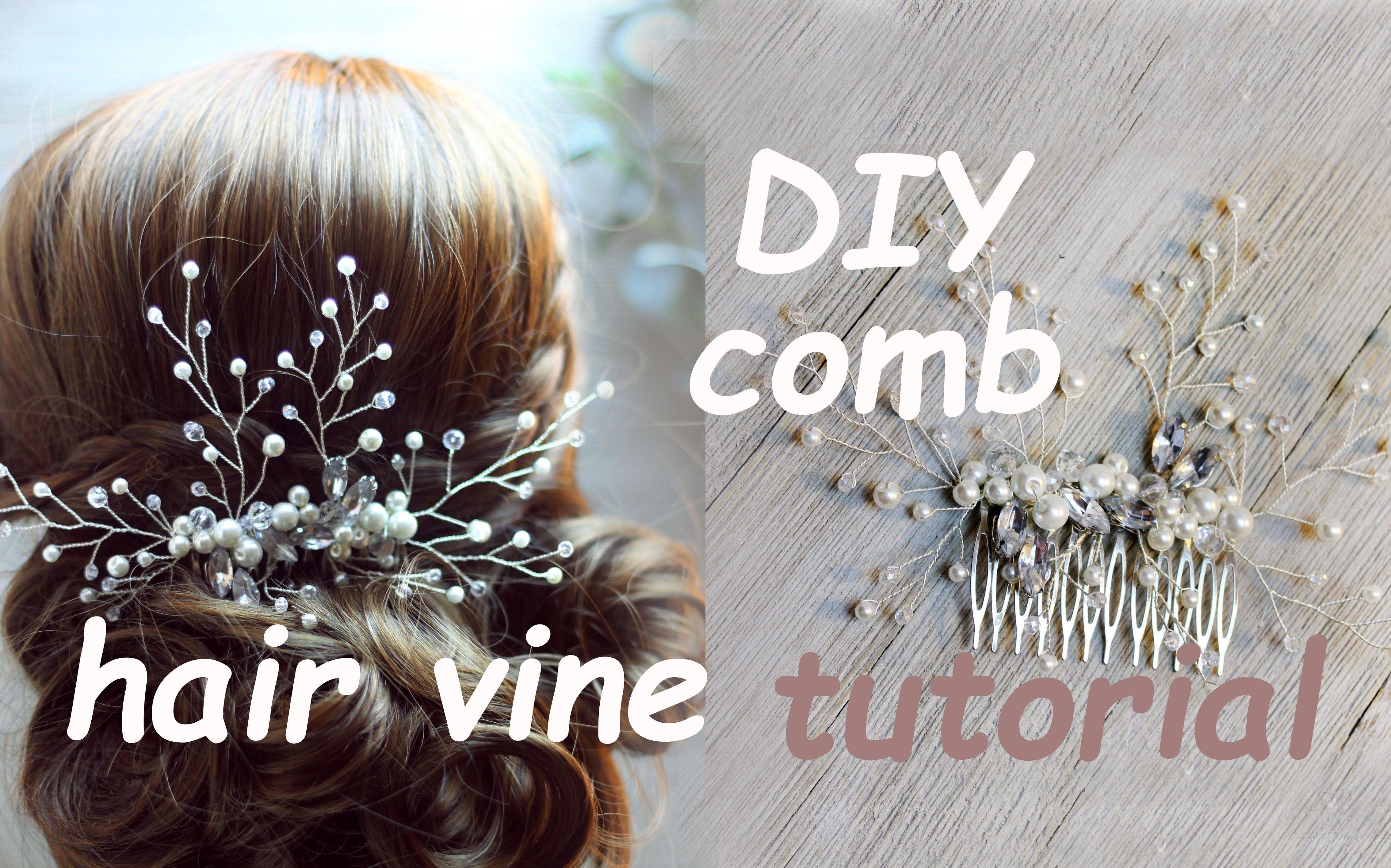 tutorial bridal hair comb hair vine pin headpiece boho chic
