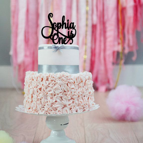 Personalized Acrylic Cake Topper First by PinkPoppyPartyShoppe