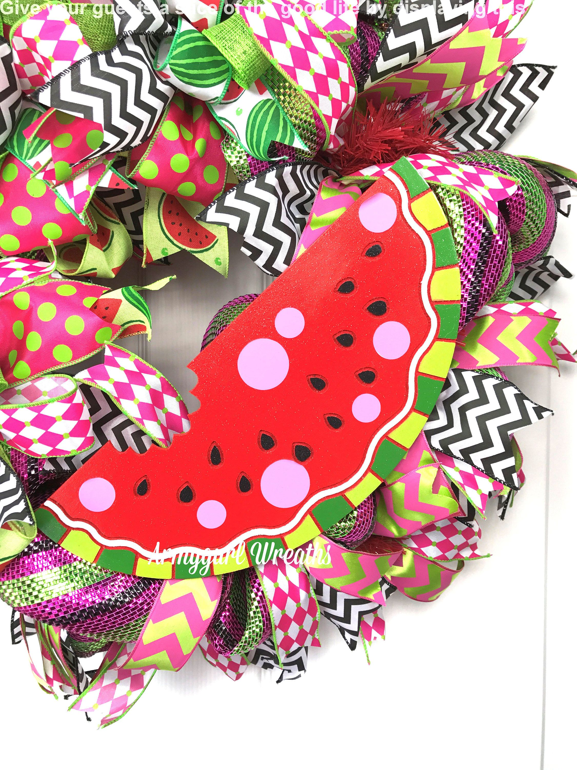 Watermelon wreath summer wreath watermelon decor deco mesh wreath