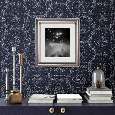 A Street Prints Cosmos Blue Dot Paper Strippable Roll Wallpaper Covers 56 4 Sq Ft 2697 22637 The Home Depot Dots Wallpaper Home Wallpaper Modern Floral Wallpaper