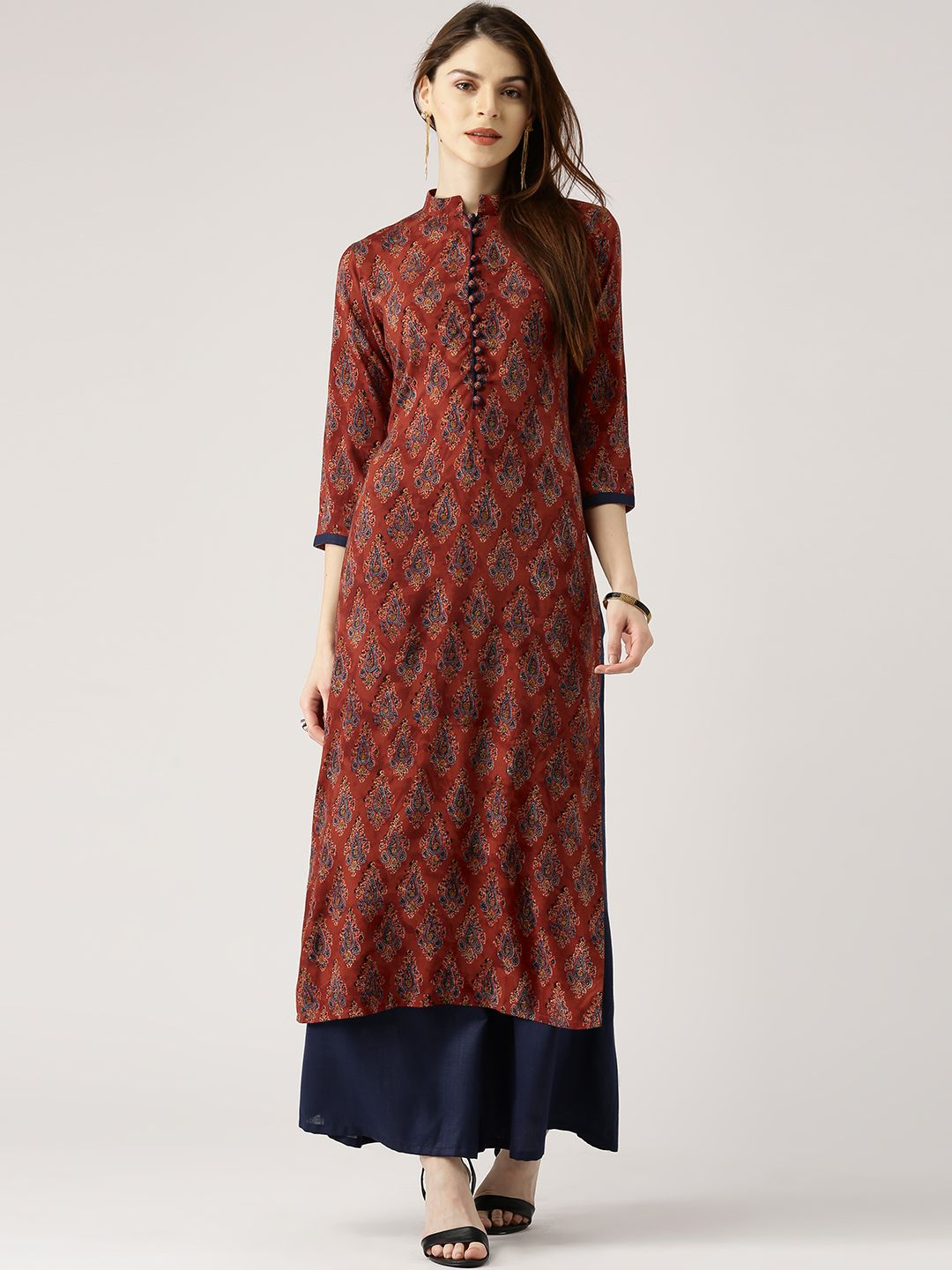 c8404454240 Buy Libas Women Rust Red   Navy Blue Printed Kurta With Palazzos - Kurta  Sets for Women 2229814