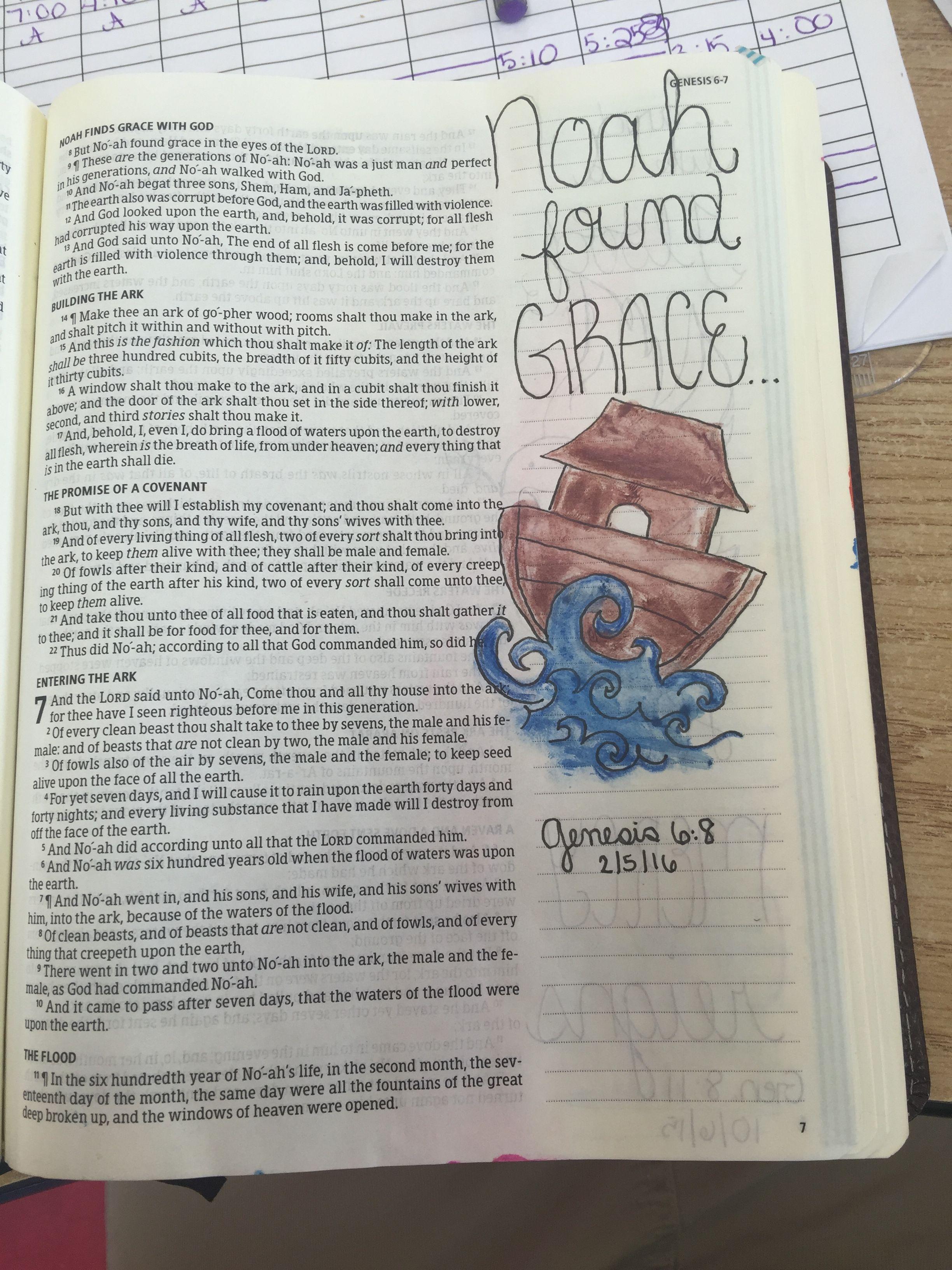 Gen 6:8. KJV. Bible journaling, Noah found grace ❤ ❤ | Bible ...