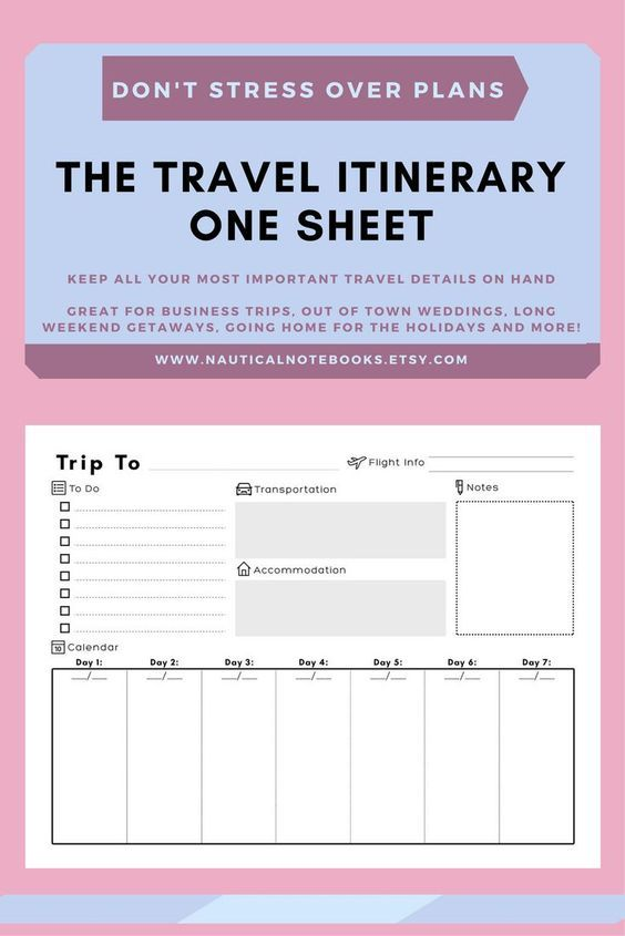 A place to keep your travel itinerary Use this vacation itinerary