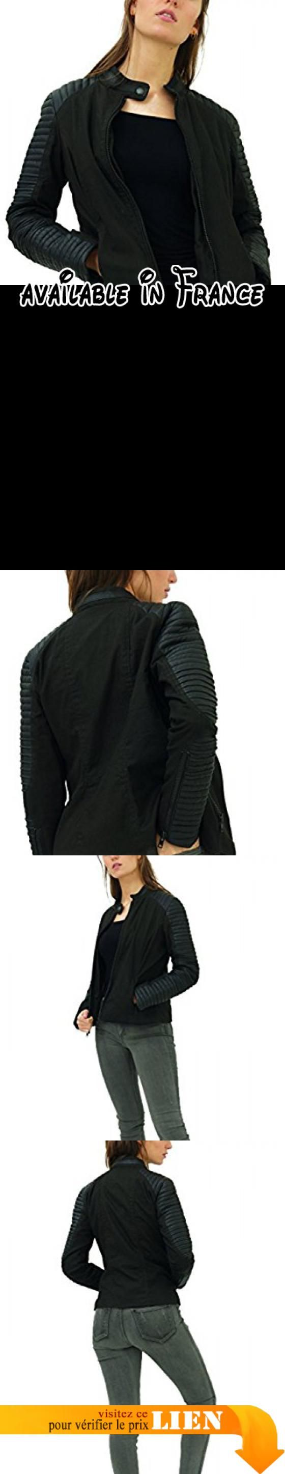 B0785NHHXM : trueprodigy Casual Femme veste moto uni  vetements swag marque vintage (sportif & slim fit classic) veste avec details en cuir mode fashion Couleur: noir 3582502-2999-L. #Apparel #OUTERWEAR