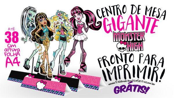 Centro De Mesa Monster High Gratis Para Imprimir Com Imagens