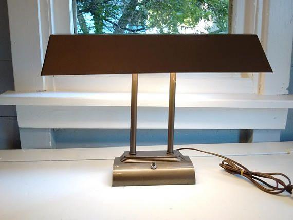 Vintage, Desk Lamp, Drafting Table Lamp, Metal, Tan, Industrial, Art Deco,  Mid Century, Lighting, Lamp, RhymeswithDaughter
