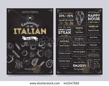 Italian Food Restaurant Menu Design Template On Chalkboard