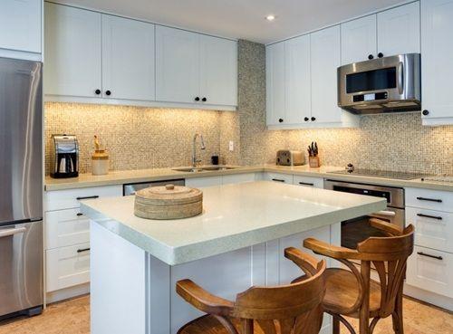 Cocina en l con isla cocina pinterest cocina peque a for Modelos de islas para cocinas pequenas