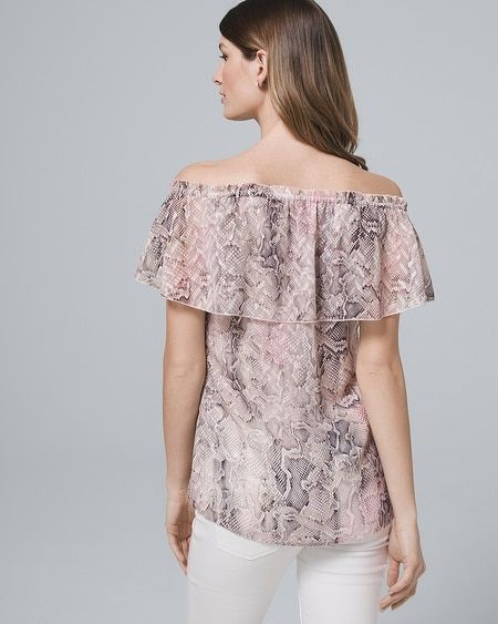 49ae63f13b6 Women's Snake Off-the-Shoulder Blouse by White House Black Market