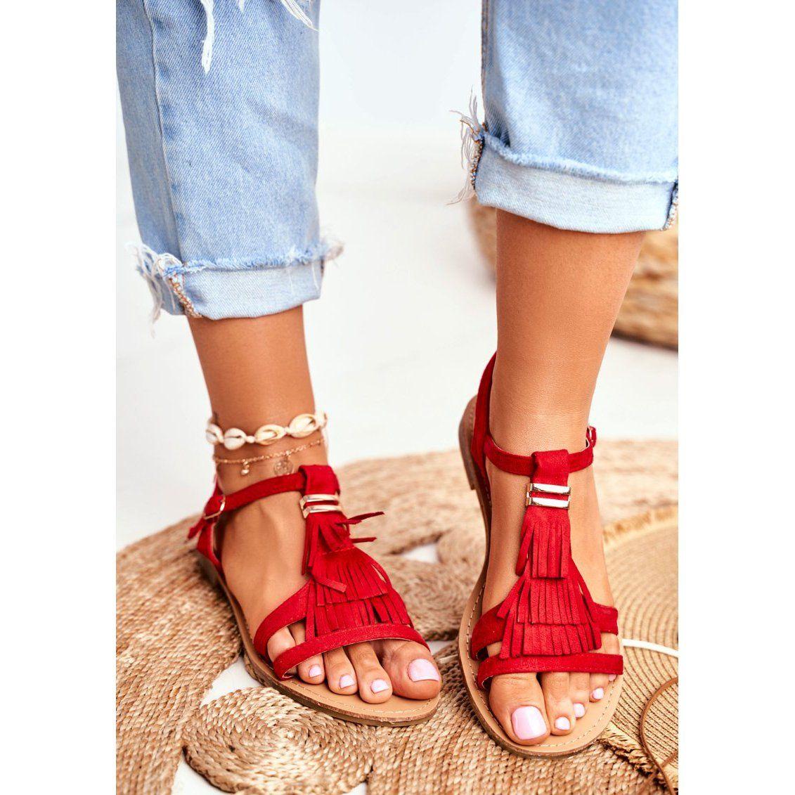 Fj1 Sandaly Damskie Plaskie Zamszowe Boho Czerwone Lucami Sandal Espadrille Shoes Sandals