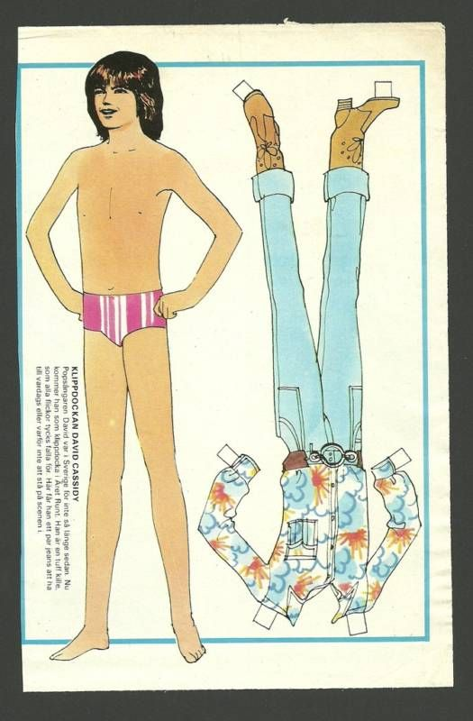 Swedish paper doll of David Cassidy / eBay