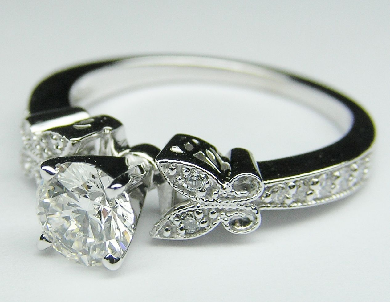 Engagement Ring Diamond Butterfly Vintage Engagement Ring