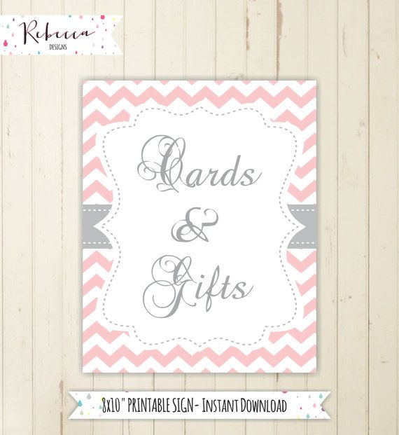 Gift table sign cards and gifts sign chevron baby shower sign pink - baby shower agenda template