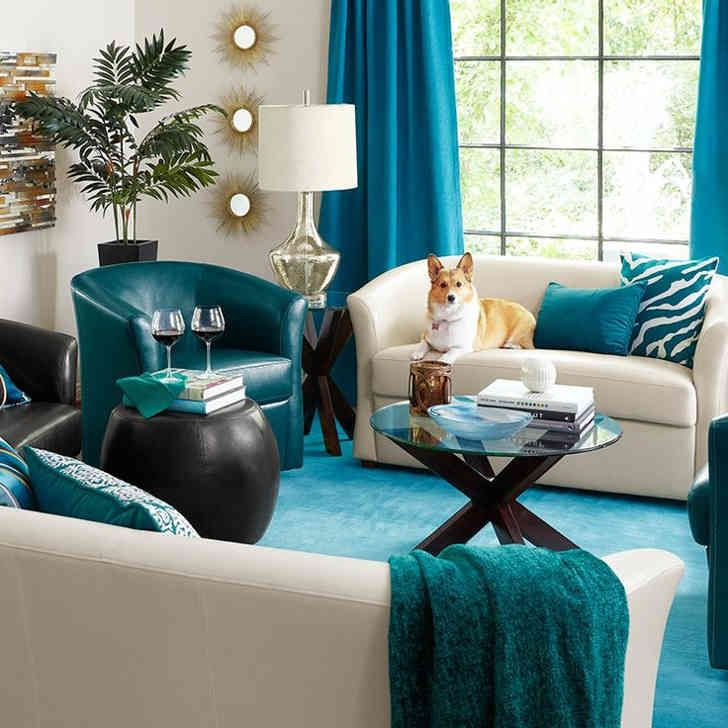 Wonderful Peacock Blue Home Decor Part   9: 100 Ideas Peacock Inspired  Living Room On