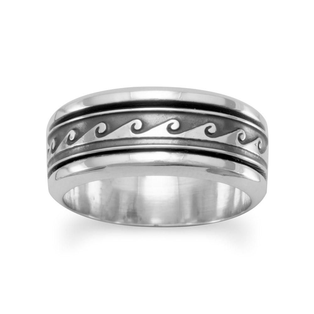 Sterling Silver Ocean Wave Design Spin Ring w/ Oxi