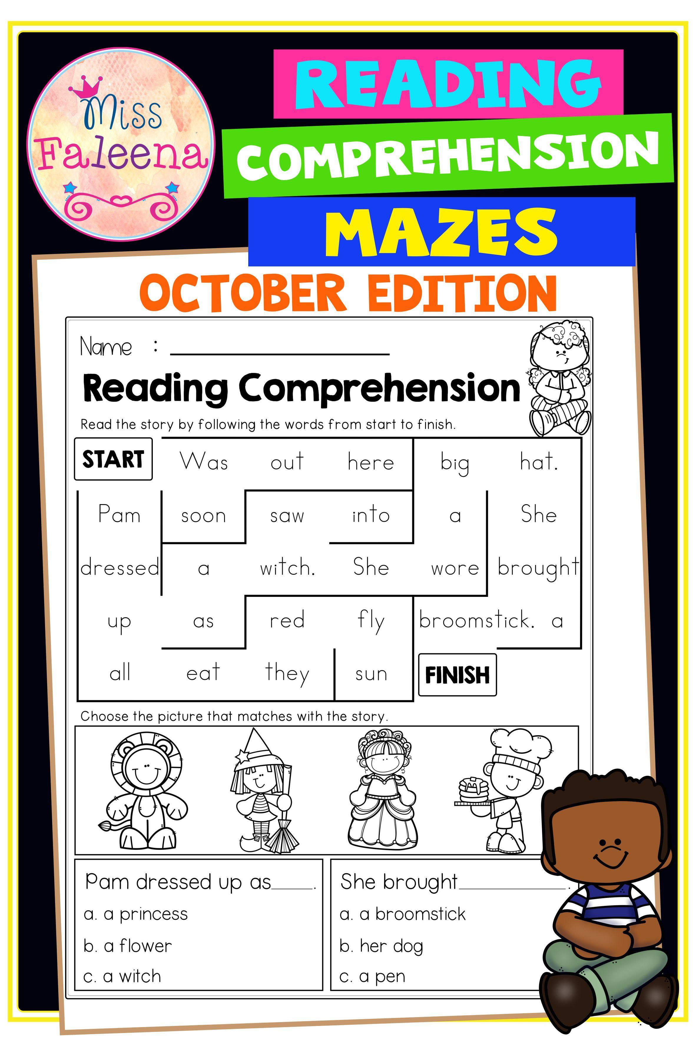 October Reading Comprehension Mazes Reading Comprehension First Grade Reading Comprehension Reading Comprehension Worksheets [ 3544 x 2364 Pixel ]