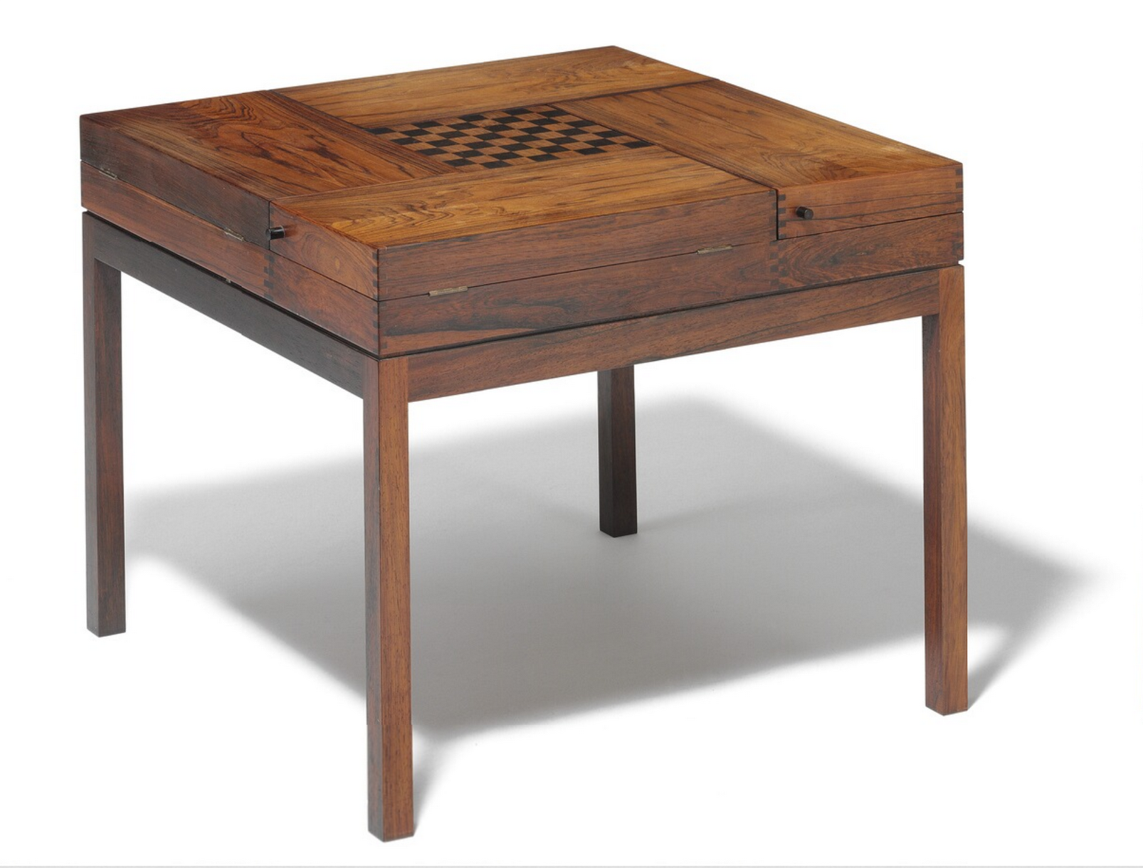 Four In One Game Table #40 - Ejner Larsen, Aksel Bender Madsen: A Square Tobacco/games Table Of Rosewood.
